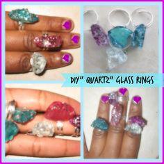 "DIY"" Quartz"" Glass Rings/ How to make a Faux Quartz Ring/ Faux Druzy Qua..."