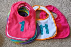 baby shower activity...make monthly bibs for baby