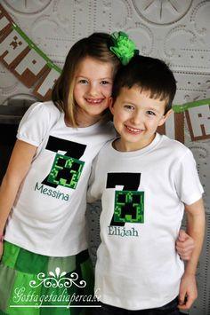 Creeper, Minecraft, Birthday shirt, custom shirts, by Gottagetadiapercake on Etsy
