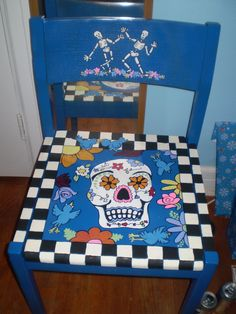 painted day of the dead chair