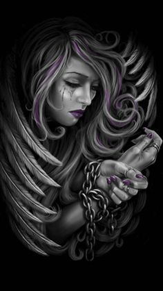 Fallen angel imprisoned in faith and devotion Og Abel Art, Crying Angel, Sad Angel, Tattoo Studio, Dark Fantasy, Fantasy Art, Fantasy Drawings, Art Chicano, Chicano Drawings
