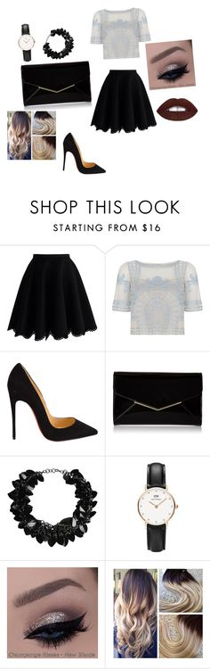 """Out."" by ahmetovic-mirzeta ❤ liked on Polyvore featuring moda, Chicwish, Temperley London, Christian Louboutin, Furla, First People First, Daniel Wellington, women's clothing, women e female"
