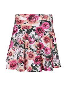 Krótka, rozkloszowana spódniczka w kolorowe kwiaty