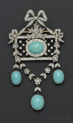 Edwardian Platinum, Turquoise, and Diamond Pendant/Brooch, centering a cabochon turquoise with garlands of old mine and rose-cut diamonds, surmounted by a bow, and suspending garlands and cabochon turquoise drops