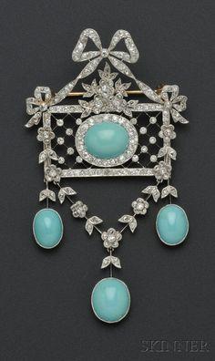 Edwardian Platinum, Turquoise, and Diamond Pendant/Brooch