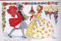 Vintage Christmas card from Sweden. Illustrator: Aina Stenberg.