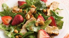 Strawberries in season? They're the sweet finishing touch to this pretty main-dish salad.