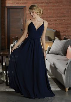 Shop Morilee's Simple Chiffon Bridesmaid Dress Featuring a Deep V-Neckline.  Simply Chic, This Chiffon Bridesmaid Dress Features a Deep V-Neckline and Full A-Line Skirt. View the Chiffon Swatch Card for Color Options. Shown in Navy.