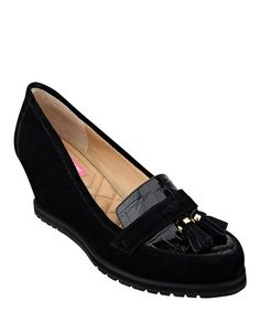 Another great find on #zulily! Black Naples Suede Wedge by Isaac Mizrahi #zulilyfinds