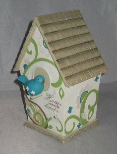 """Birdhouse Decorative Home is where the Heart is New 7.5"""" high"""