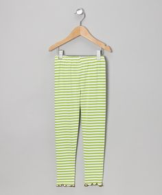 Take a look at this Green Stripe Leggings - Toddler on zulily today!