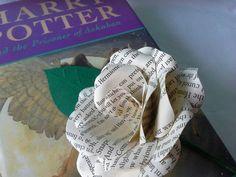3 Harry Potter Book Paper Flower Rose Buttonholes / Boutonnières, Wedding Flowers, Handmade Paper Flowers