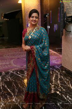 Tollywood Actress Indraja Stills In Blue Saree Beautiful Women Over 40, Beautiful Girl Indian, Beautiful Saree, Beautiful Indian Actress, Beautiful Curves, Indian Designer Sarees, Indian Designer Outfits, Indian Sarees, Saree Hairstyles