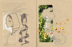 Audrey Kawasaki sketchbook pages. Lovely idea