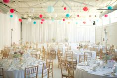 wedding at The Hangar at Airship 37 Wedding Venues Ontario, Outdoor Wedding Venues, Wedding Reception Decorations, Party Venues, Event Venues, Bridal Shower Venues, Beautiful Table Settings, Wedding Confetti, Ceiling Decor