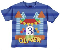 """Bounce House Birthday TShirt Personalized by SimplySublimeBaby, $24.95 - love the lack of overly """"boy"""" themes (no sports balls, cars or construction equipment, etc)."""