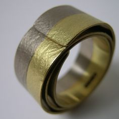 Two Golds Coil Ring | Contemporary Rings by contemporary jewellery designer Jessica Briggs