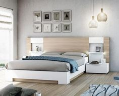 Contemporary Garcia Sabate Altea Bed in Matt White & Matt Cappuccino Opt Bedside Cabinets