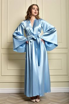 Bride Dressing Gown, Satin Dressing Gown, Lace Bridal Robe, Bridal Robes, Bridal Gown, Bridesmaid Robes, Satin Dresses, Blue Satin, Satin Nightie