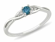 10K White Gold 1/7 CT TDW Round Blue and White Diamond Fashion Ring (G-H, I2-I3) Amour. $220.00