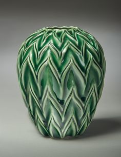 """Award for Excellence in Functional & Production Ware: """"Chevron"""" by Deb Vereschagin -- 2015; Clay, glaze; wheel thrown, hand carved, glazed; 17 x 13 x 13; Value: $550.00; For Sale. Hand Craft Work, Glaze, Hand Carved, Chevron, Carving, Pottery, Texture, Crafts, Enamel"""
