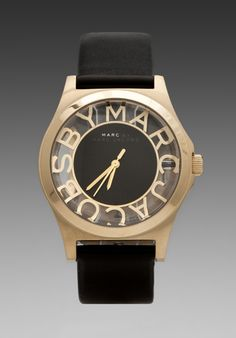 MARC BY MARC JACOBS Henry Skeleton Watch in Black/Gold -
