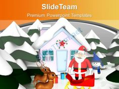 Christmas Scene With Pink Snowmen Hut Reindeer Powerpoint Templates Ppt Themes And Graphics 0113 #PowerPoint #Templates #Themes #Background