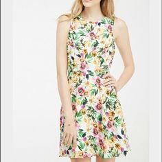 f21 Floral Open Back Dress Lined with white underneath. open back. used once. polyester blend. 10/10 condition. paid $30 Forever 21 Dresses Backless