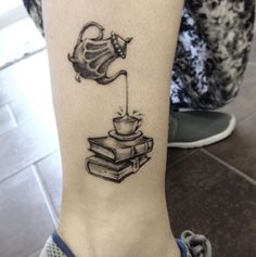 Gray-scaled Books with Tea Tattoo