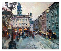 Original oil painting evening city of Lviv от ValArtGallery