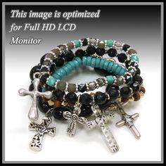 5 Piece Cross Charm Bracelet Set