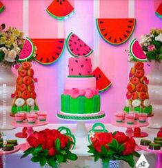 Fiesta First Birthday Party Themes, Girl First Birthday, 4th Birthday Parties, 1st Birthdays, Birthday Ideas, Baby Shower Watermelon, Watermelon Birthday Parties, Fruit Party, Kids Party Decorations