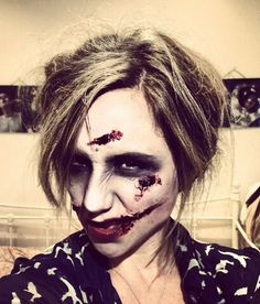 Zombie make-up by @PrimpPowderPout on Twitter #Halloween #MakeUpIsAScience