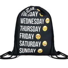 Days of the week emoji backpack drawstring fashion men women travel... ($19) ❤ liked on Polyvore featuring mens y men's bags