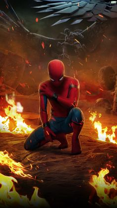 Spiderman in the fire