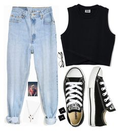 """""""Untitled #1082"""" by danifashionblog on Polyvore featuring Levi's, ZeroUV, Boohoo, Converse and NIKE"""