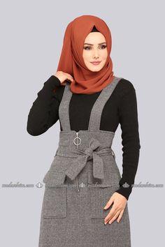 moda selvim Halka Fermuarlı Jile 5458MP186 Gri Abaya Fashion, Fashion Dresses, Denim Abaya, Hijab Dress, Beautiful Hijab, Blazer Dress, Kids Fashion, Womens Fashion, Dress Patterns