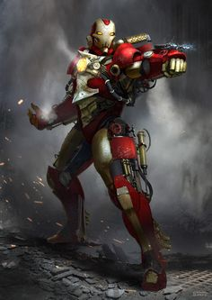 Steampunk Iron Man, Conor Burke on ArtStation at https://www.artstation.com/artwork/zOBe6