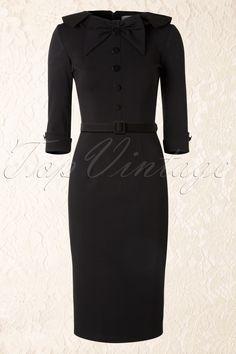 50s CEO Retro Pencil Dress Black - Tatyana