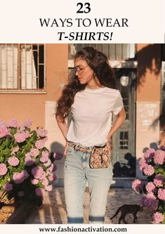 T-shirt outfits! I think, this is the most common thing that we wear at hot summer days! Because it is really easy to combine t-shirts with basic clothes. Basic Outfits, Summer Outfits, Birthday Gifts For Girls, Girl Birthday, We Wear, How To Wear, T Shirts With Sayings, Shirt Outfit, Cool T Shirts