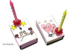 Schachtelgrüße Liebe Auswahl,  Streichholzschachtel    Ein kleines Licht mit großer Wirkung für Liebe,Geburstag,....    Innen sind 2 Minkarten-beig...