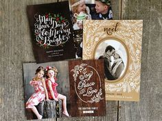 Rustic and elegant holiday cards