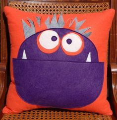 monster pillow. make it a pocket and put pj's in it.
