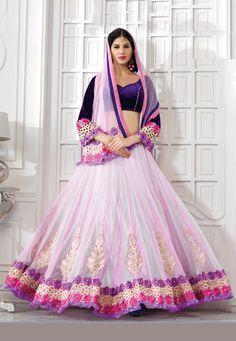Off White and Light #Pink Net #Lehenga Choli with Dupatta #lehenga #choli #indian #shaadi #bridal #fashion #style #desi #designer #blouse #wedding #gorgeous #beautiful