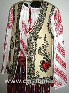 Romanian Folk costume for sale. You can buy hand embroidered traditional costumes from Romania Oltenia area Costumes For Sale, Folk Costume, Folklore, Traditional Outfits, Ethnic, Rustic, Blouse, Sweaters, Stuff To Buy