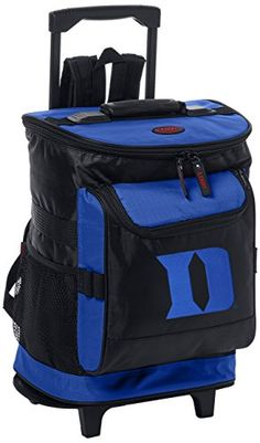 Logo Brands NCAA Arkansas Razorback Rolling Cooler - Duke Blue Devils  http://allstarsportsfan.com/product/logo-brands-ncaa-arkansas-razorback-rolling-cooler/?attribute_pa_teamname=duke-blue-devils  1680 denier polyester and foam insulation interior Heat sealed, leak proof liner Pull out handle with smooth rolling in-line wheels, zipper storage compartment, and two elastic mesh pockets on the sides
