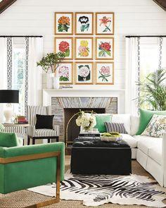 zebra rug, emerald green, stripes, botanical art, white, black, colorful, ideas for spring refresh