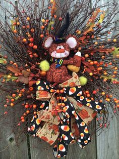 Halloween Wreath Halloween Door Halloween Decor by BaBamWreaths