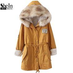 SheIn 2016 가을/겨울 파카 캐주얼 여성 Outerwears 트윈 포켓 긴 소매 가짜 모피 후드 버튼 코트