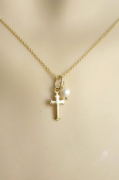 Gold cross necklace vermeil 24K gold plated on 925 by alya 9af0eed8f
